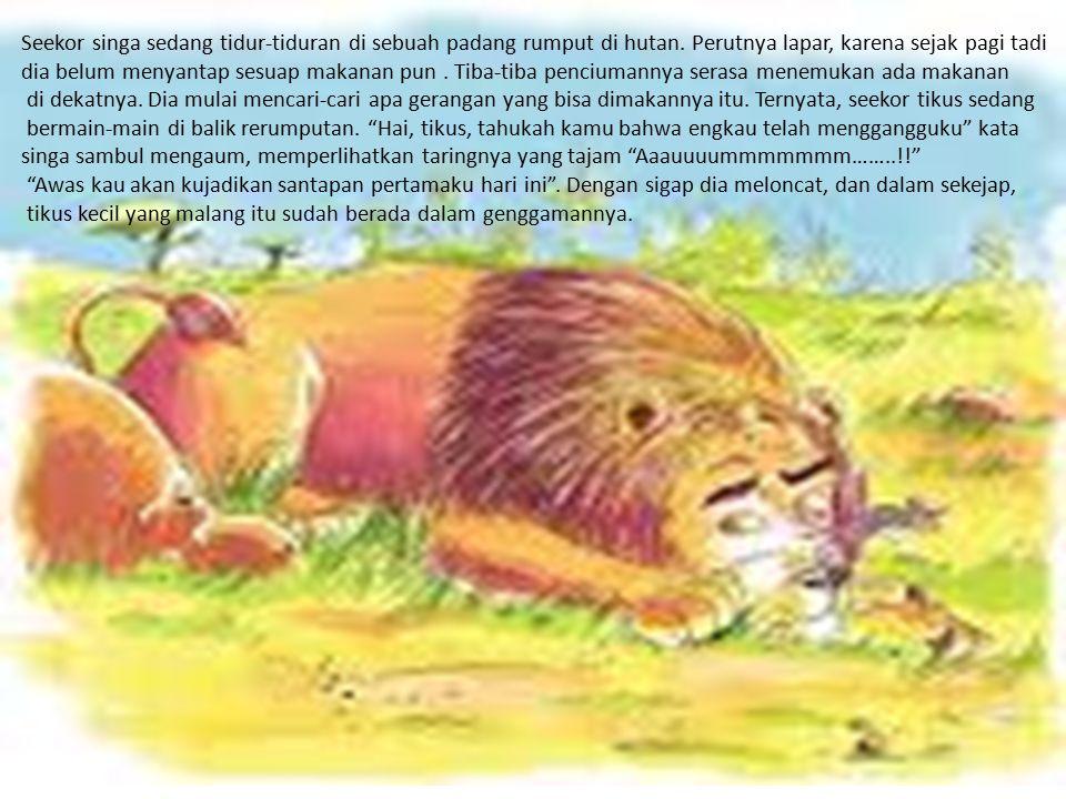 Seekor singa sedang tidur-tiduran di sebuah padang rumput di hutan