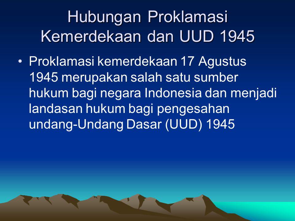 Hubungan Proklamasi Kemerdekaan dan UUD 1945