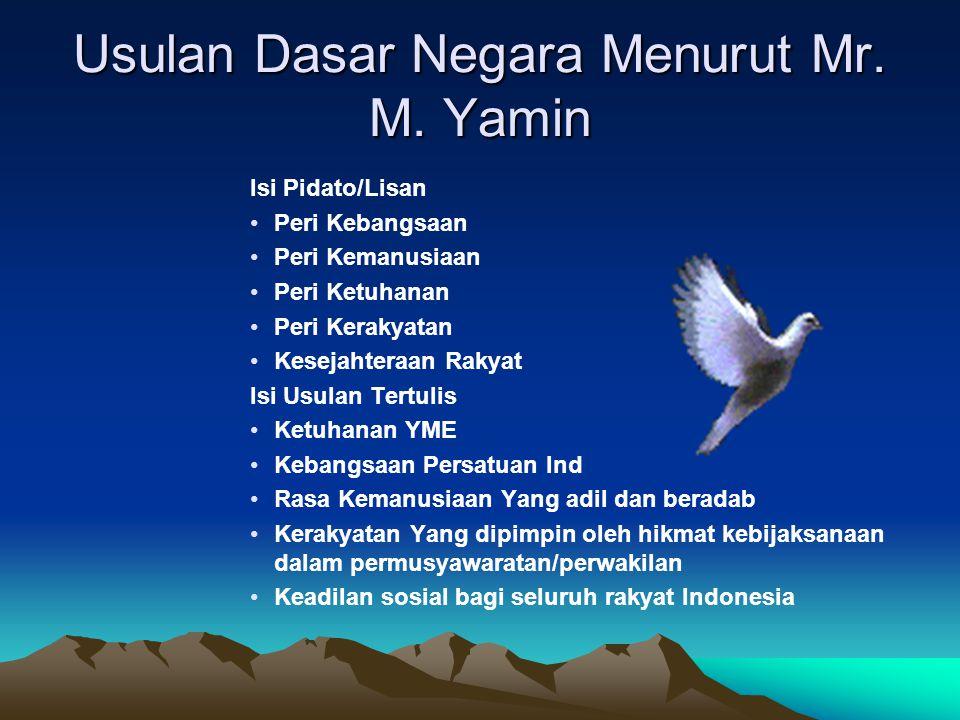 Usulan Dasar Negara Menurut Mr. M. Yamin