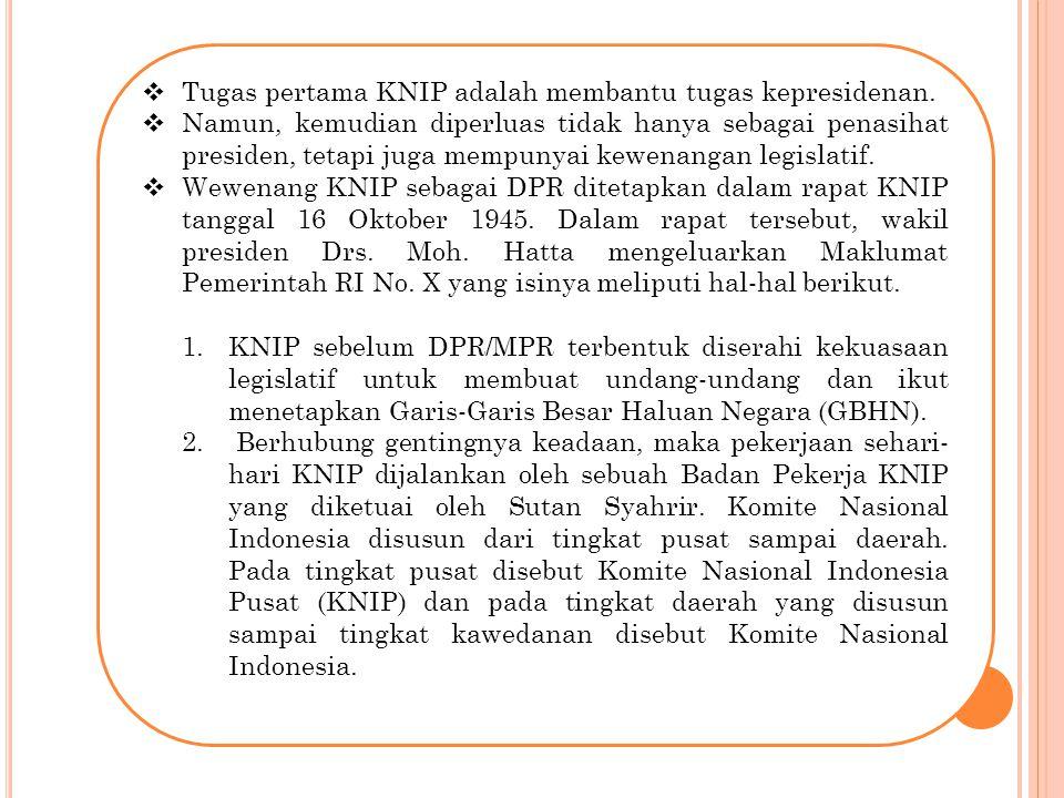 Tugas pertama KNIP adalah membantu tugas kepresidenan.