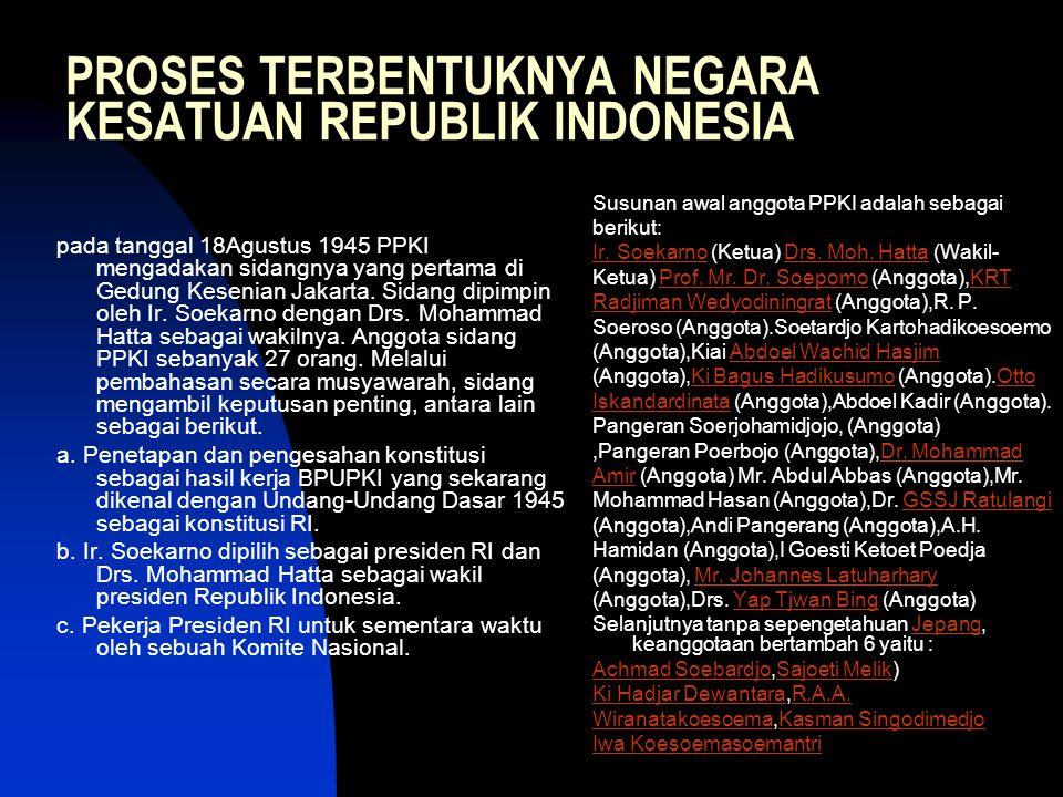 PROSES TERBENTUKNYA NEGARA KESATUAN REPUBLIK INDONESIA