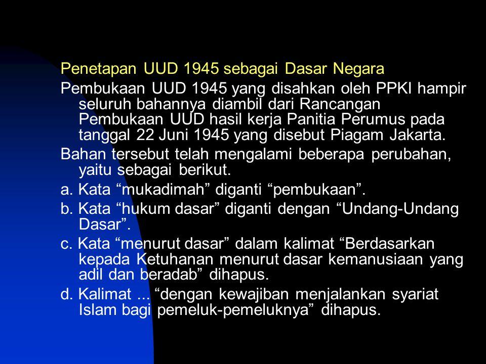 Penetapan UUD 1945 sebagai Dasar Negara