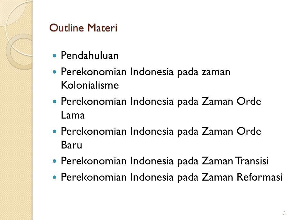 Outline Materi Pendahuluan. Perekonomian Indonesia pada zaman Kolonialisme. Perekonomian Indonesia pada Zaman Orde Lama.