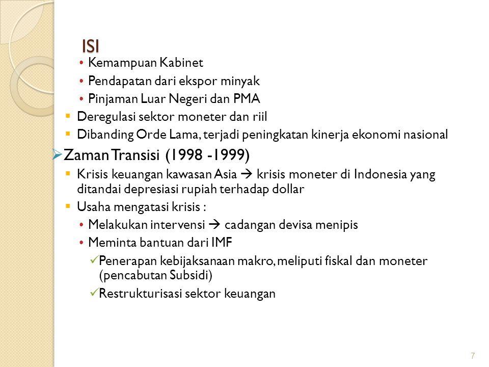 ISI Zaman Transisi (1998 -1999) Kemampuan Kabinet