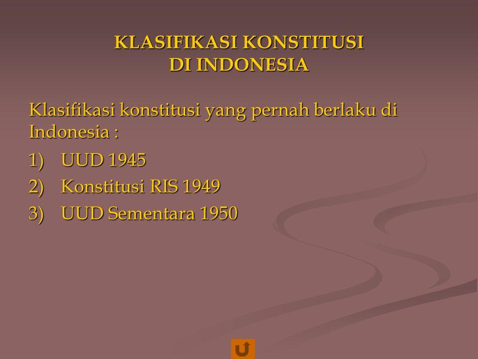 KLASIFIKASI KONSTITUSI DI INDONESIA