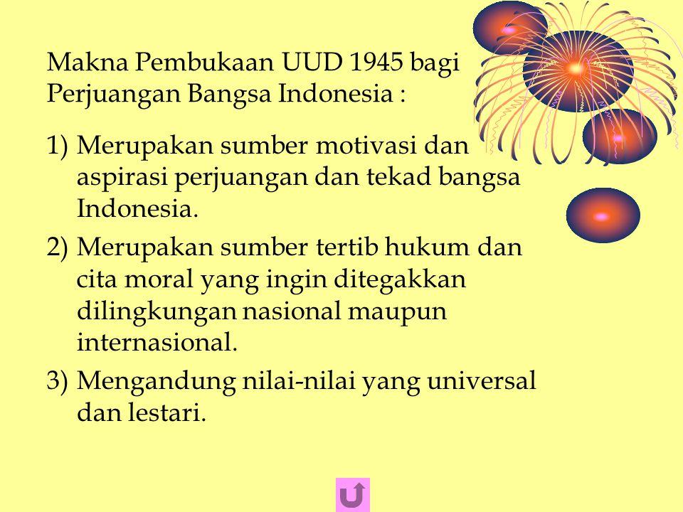 Makna Pembukaan UUD 1945 bagi Perjuangan Bangsa Indonesia :