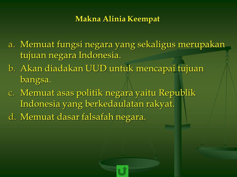 Memuat fungsi negara yang sekaligus merupakan tujuan negara Indonesia.