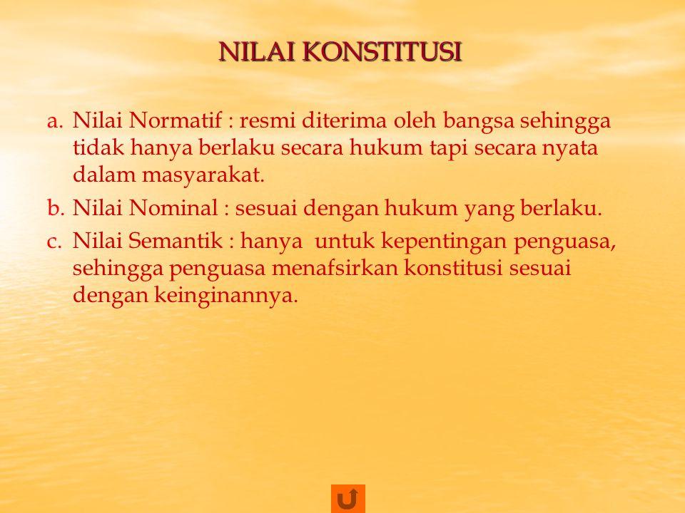 NILAI KONSTITUSI Nilai Normatif : resmi diterima oleh bangsa sehingga tidak hanya berlaku secara hukum tapi secara nyata dalam masyarakat.