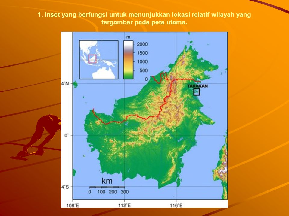 1. Inset yang berfungsi untuk menunjukkan lokasi relatif wilayah yang tergambar pada peta utama.