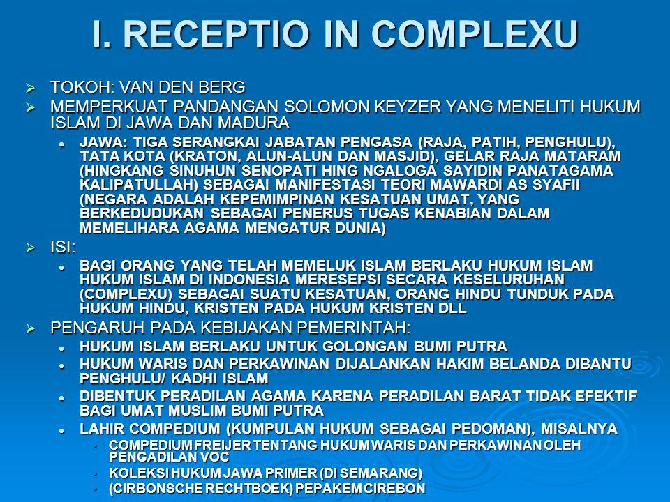 I. RECEPTIO IN COMPLEXU TOKOH: VAN DEN BERG