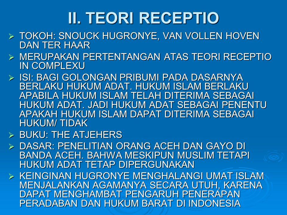 II. TEORI RECEPTIO TOKOH: SNOUCK HUGRONYE, VAN VOLLEN HOVEN DAN TER HAAR. MERUPAKAN PERTENTANGAN ATAS TEORI RECEPTIO IN COMPLEXU.