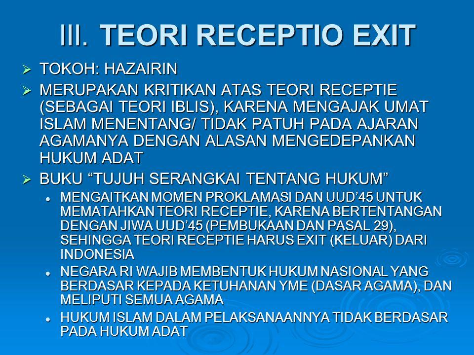 III. TEORI RECEPTIO EXIT