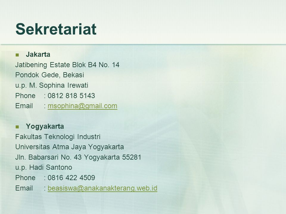 Sekretariat Jakarta Jatibening Estate Blok B4 No. 14