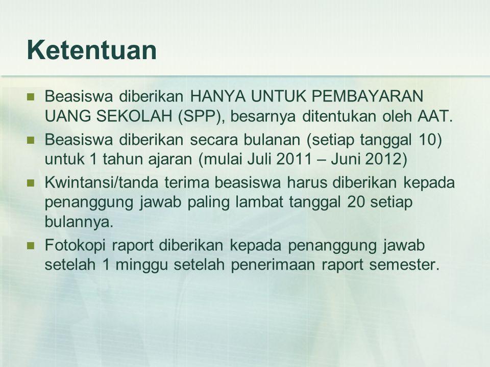 Ketentuan Beasiswa diberikan HANYA UNTUK PEMBAYARAN UANG SEKOLAH (SPP), besarnya ditentukan oleh AAT.