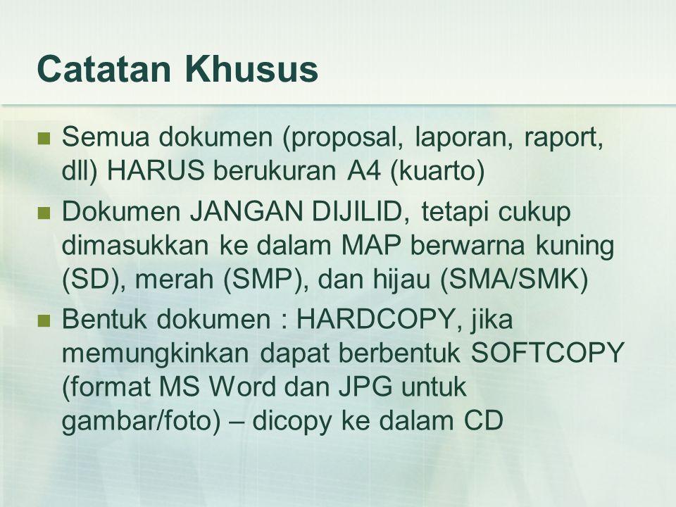 Catatan Khusus Semua dokumen (proposal, laporan, raport, dll) HARUS berukuran A4 (kuarto)
