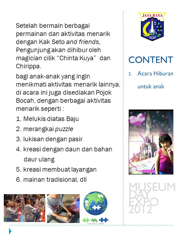MUSEUM DAY EXPO 2012 CONTENT