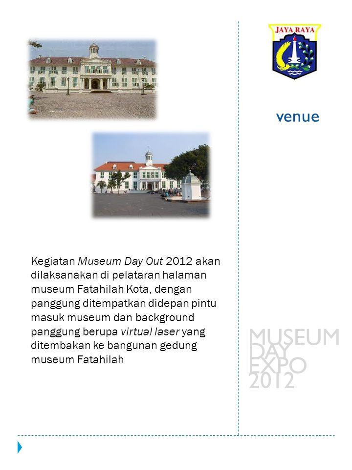 Kegiatan Museum Day Out 2012 akan dilaksanakan di pelataran halaman museum Fatahilah Kota, dengan panggung ditempatkan didepan pintu masuk museum dan background panggung berupa virtual laser yang ditembakan ke bangunan gedung museum Fatahilah