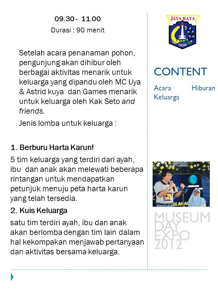 MUSEUM DAY EXPO 2012 CONTENT Jenis lomba untuk keluarga :