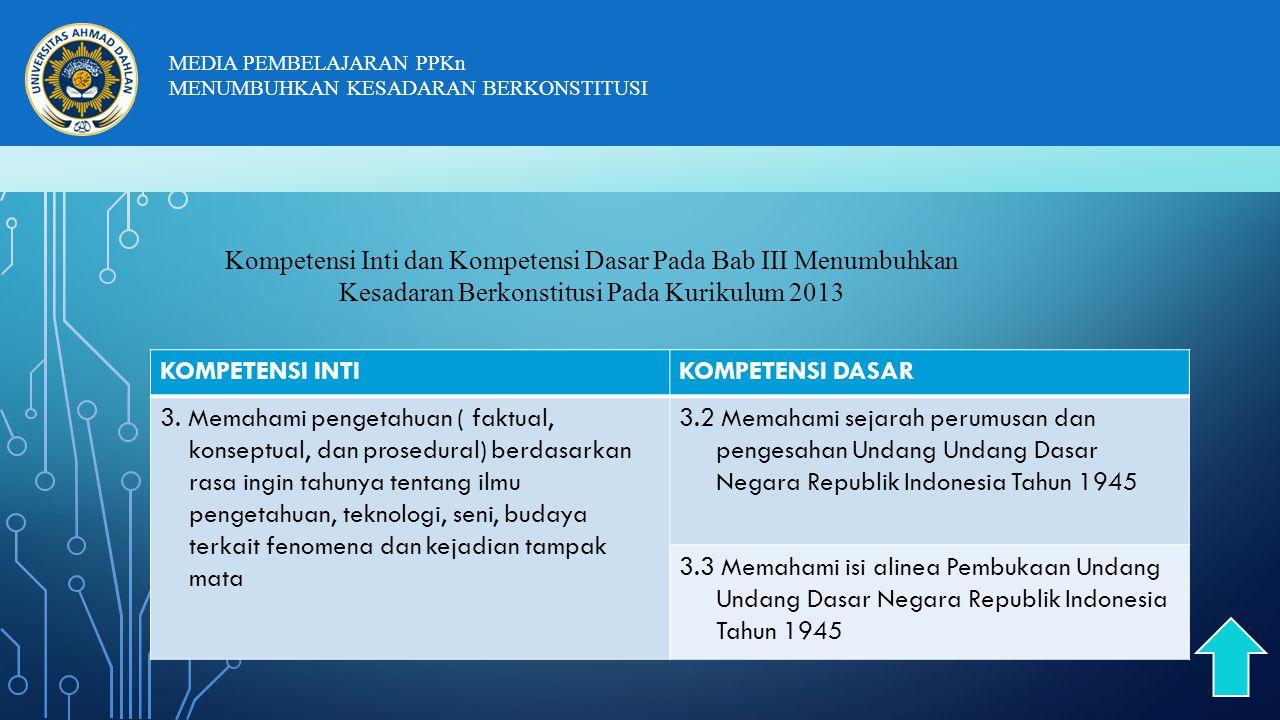 Kompetensi Inti dan Kompetensi Dasar Pada Bab III Menumbuhkan Kesadaran Berkonstitusi Pada Kurikulum 2013