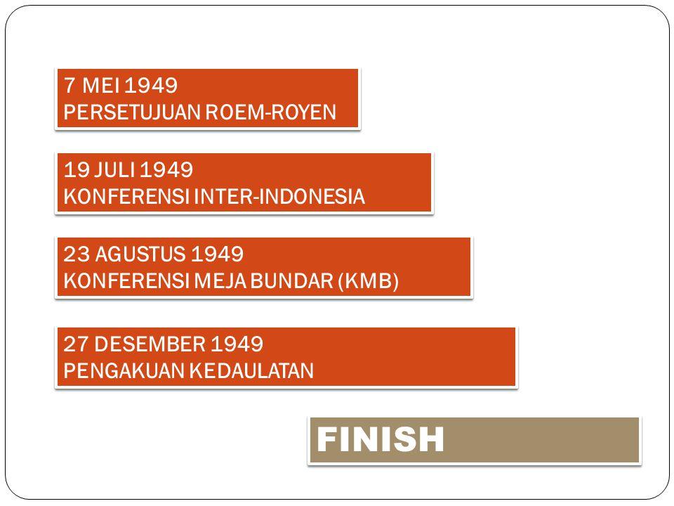 FINISH 7 MEI 1949 PERSETUJUAN ROEM-ROYEN 19 JULI 1949