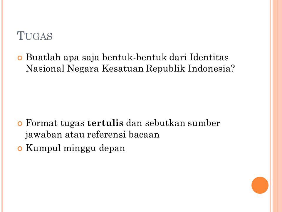 Tugas Buatlah apa saja bentuk-bentuk dari Identitas Nasional Negara Kesatuan Republik Indonesia