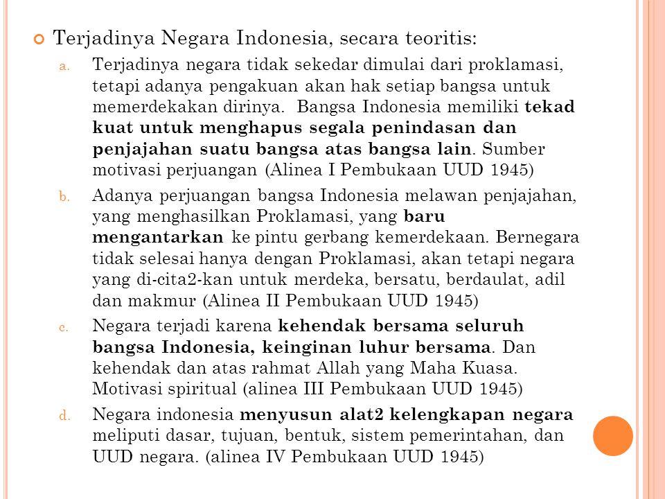 Terjadinya Negara Indonesia, secara teoritis: