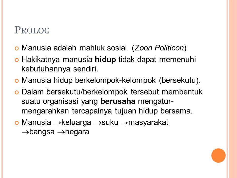 Prolog Manusia adalah mahluk sosial. (Zoon Politicon)