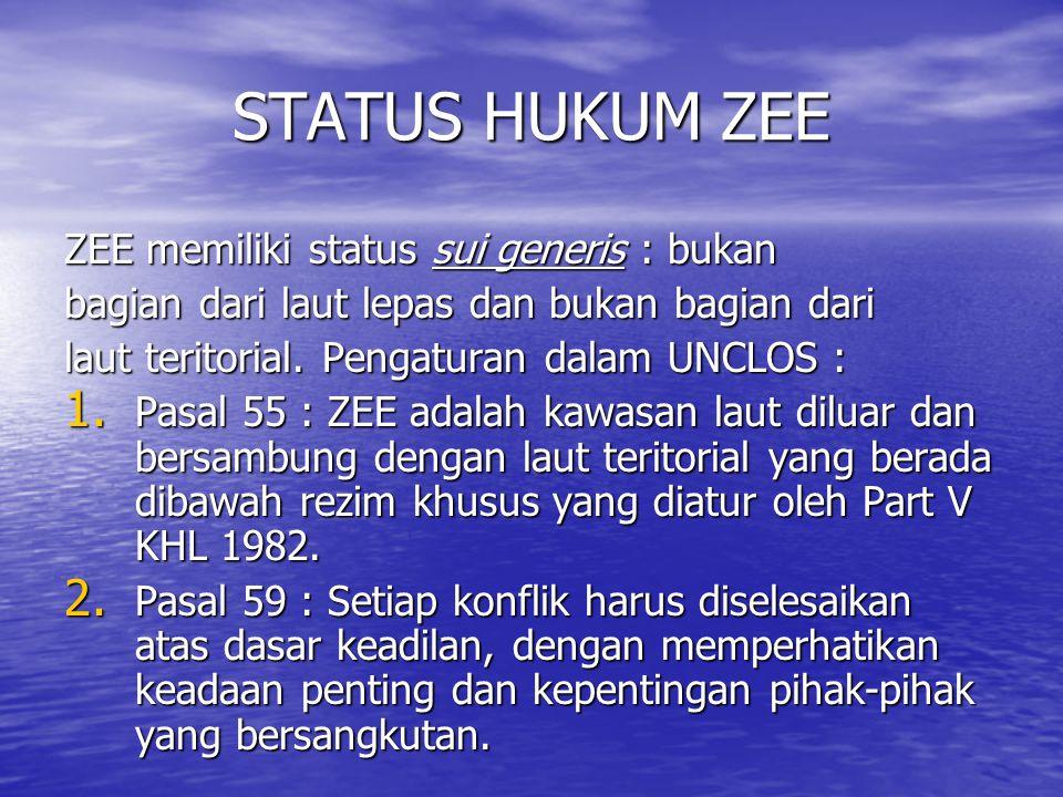 STATUS HUKUM ZEE ZEE memiliki status sui generis : bukan