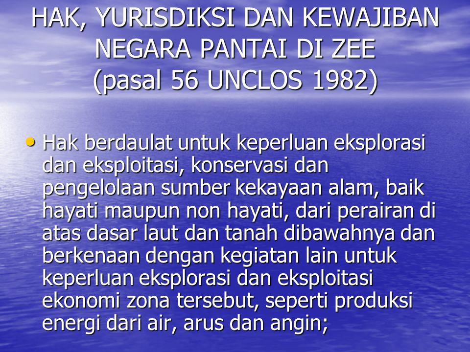 HAK, YURISDIKSI DAN KEWAJIBAN NEGARA PANTAI DI ZEE (pasal 56 UNCLOS 1982)