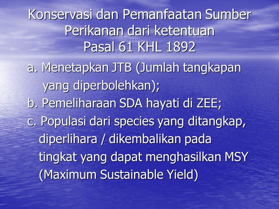 Konservasi dan Pemanfaatan Sumber Perikanan dari ketentuan Pasal 61 KHL 1892