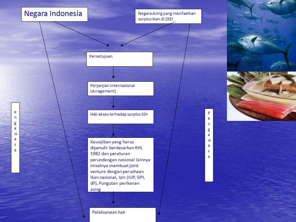 Negara Indonesia Negara Asing yang menfaatkan surplus ikan di ZEEI. Persetujuan. Perjanjian Internasional (Arragement)