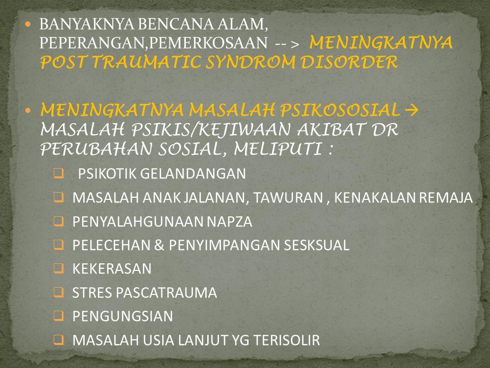 BANYAKNYA BENCANA ALAM, PEPERANGAN,PEMERKOSAAN -- > MENINGKATNYA POST TRAUMATIC SYNDROM DISORDER