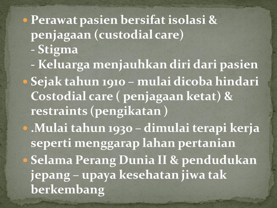 Perawat pasien bersifat isolasi & penjagaan (custodial care) - Stigma - Keluarga menjauhkan diri dari pasien