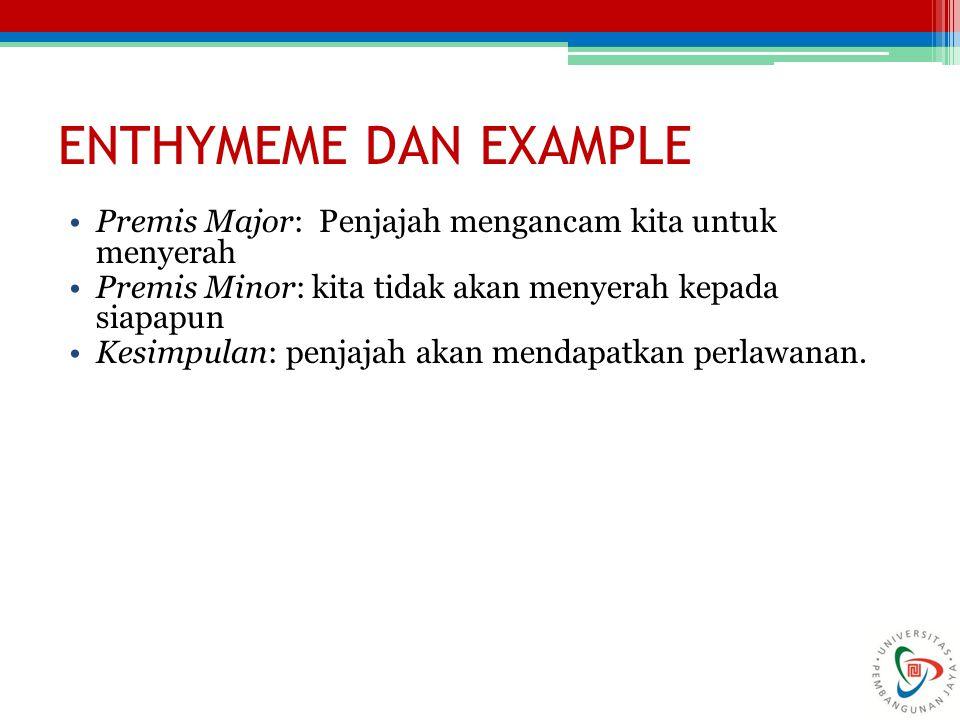 ENTHYMEME DAN EXAMPLE Premis Major: Penjajah mengancam kita untuk menyerah. Premis Minor: kita tidak akan menyerah kepada siapapun.