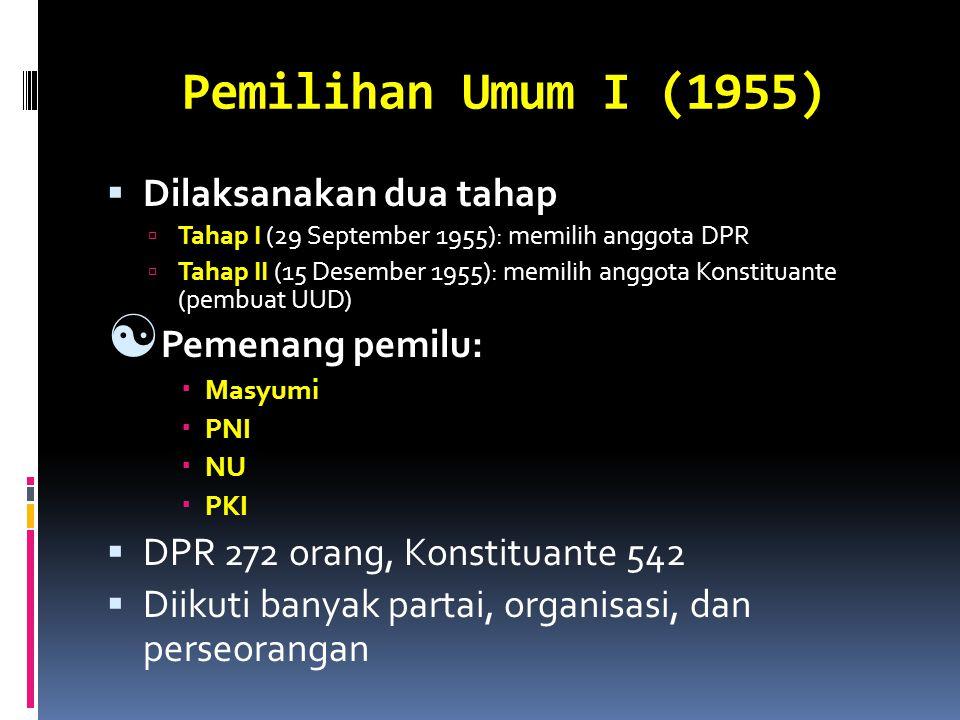 Pemilihan Umum I (1955) Dilaksanakan dua tahap Pemenang pemilu:
