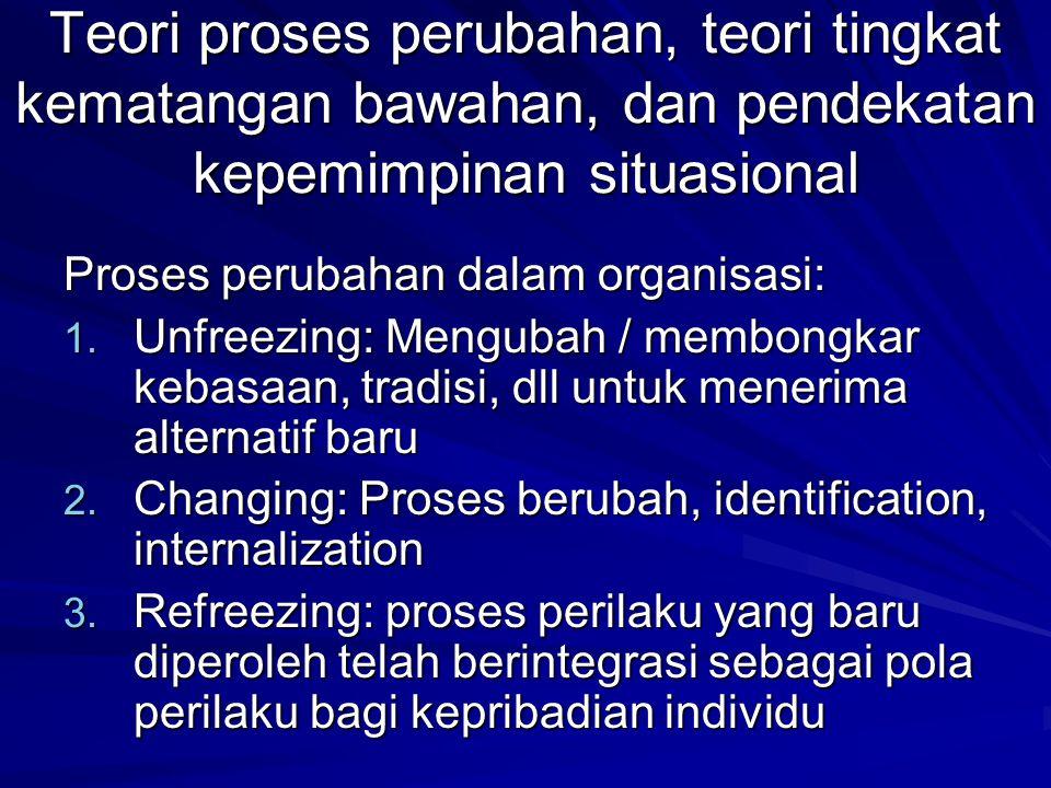 Teori proses perubahan, teori tingkat kematangan bawahan, dan pendekatan kepemimpinan situasional