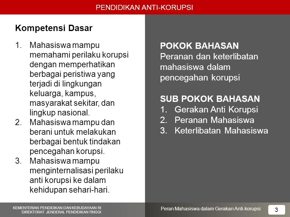Peranan dan keterlibatan mahasiswa dalam pencegahan korupsi