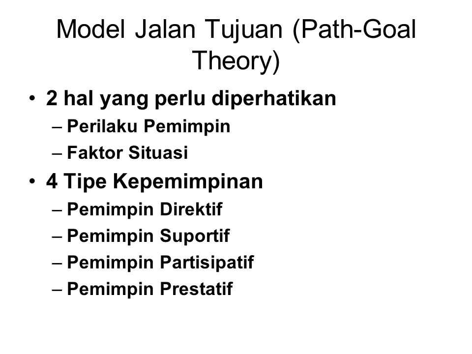 Model Jalan Tujuan (Path-Goal Theory)