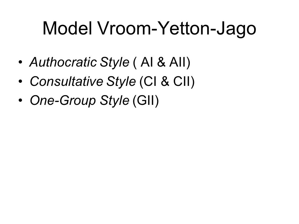 Model Vroom-Yetton-Jago