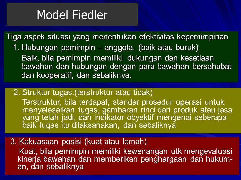 Model Fiedler Tiga aspek situasi yang menentukan efektivitas kepemimpinan. 1. Hubungan pemimpin – anggota. (baik atau buruk)