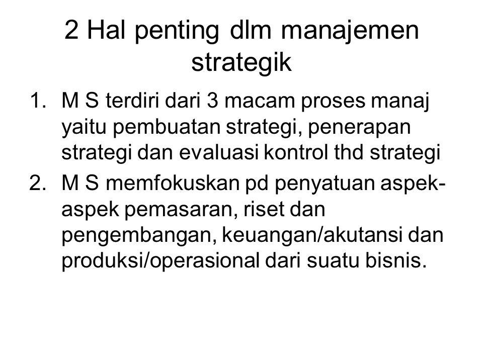2 Hal penting dlm manajemen strategik