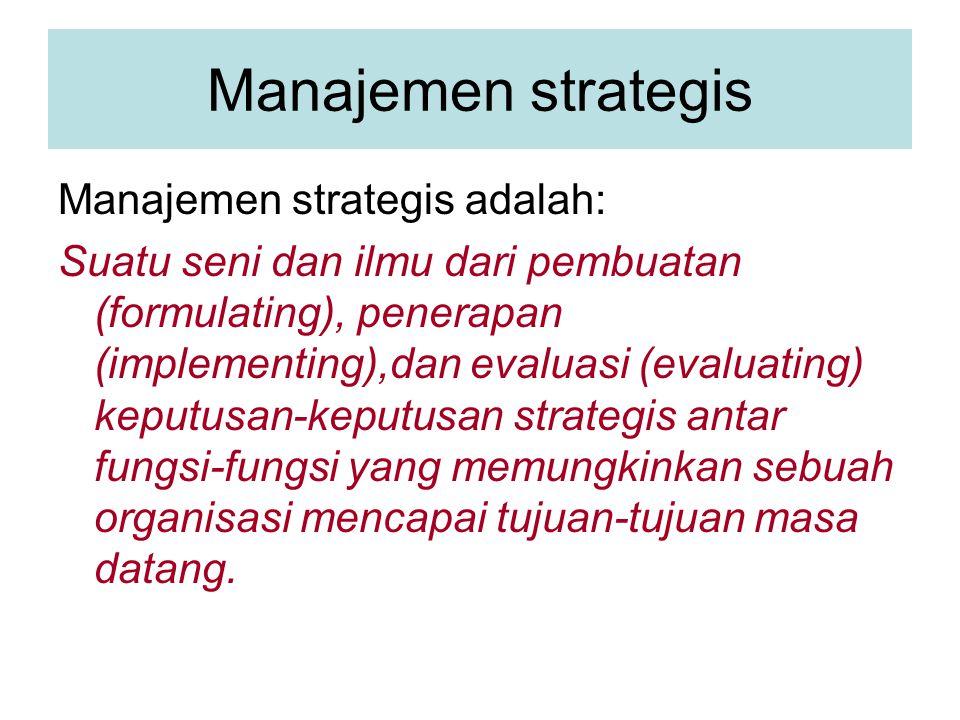 Manajemen strategis Manajemen strategis adalah:
