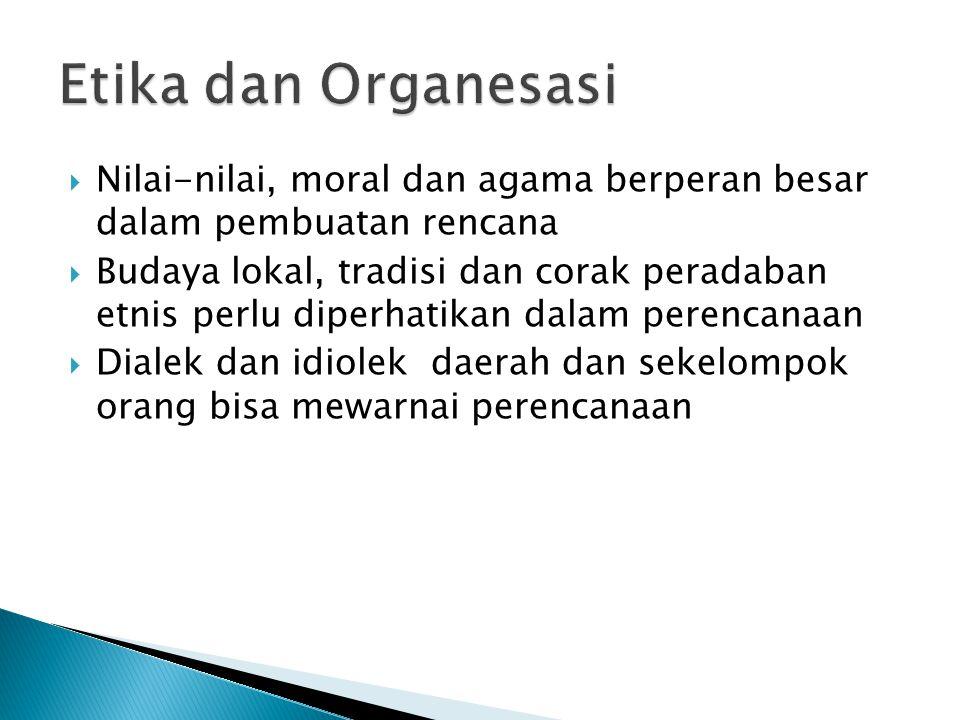 Etika dan Organesasi Nilai-nilai, moral dan agama berperan besar dalam pembuatan rencana.