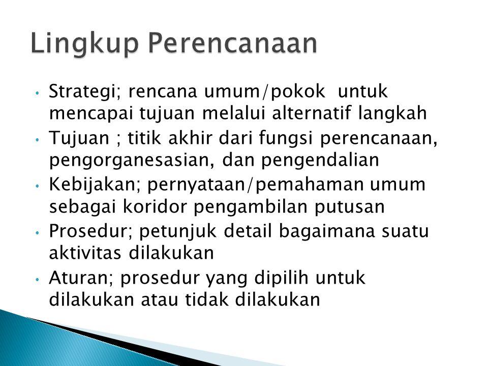 Lingkup Perencanaan Strategi; rencana umum/pokok untuk mencapai tujuan melalui alternatif langkah.