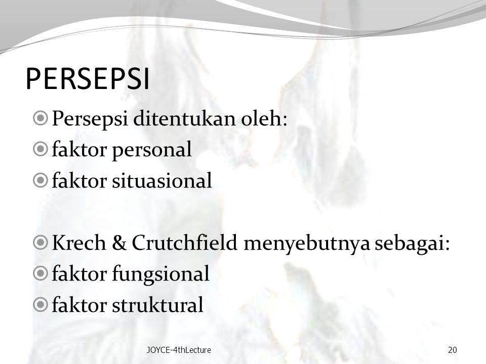 PERSEPSI Persepsi ditentukan oleh: faktor personal faktor situasional