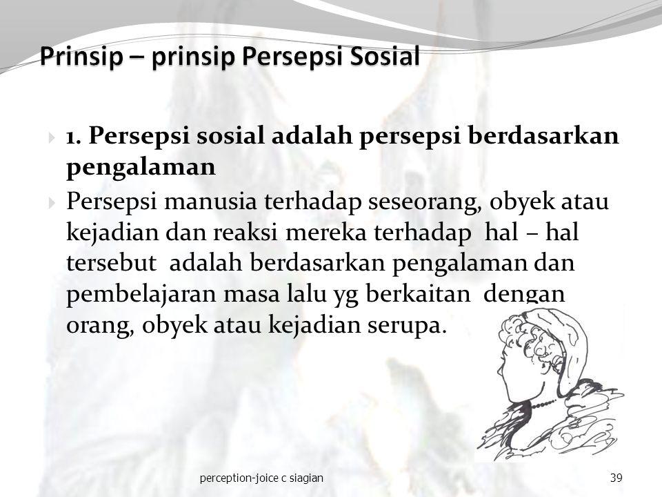 Prinsip – prinsip Persepsi Sosial