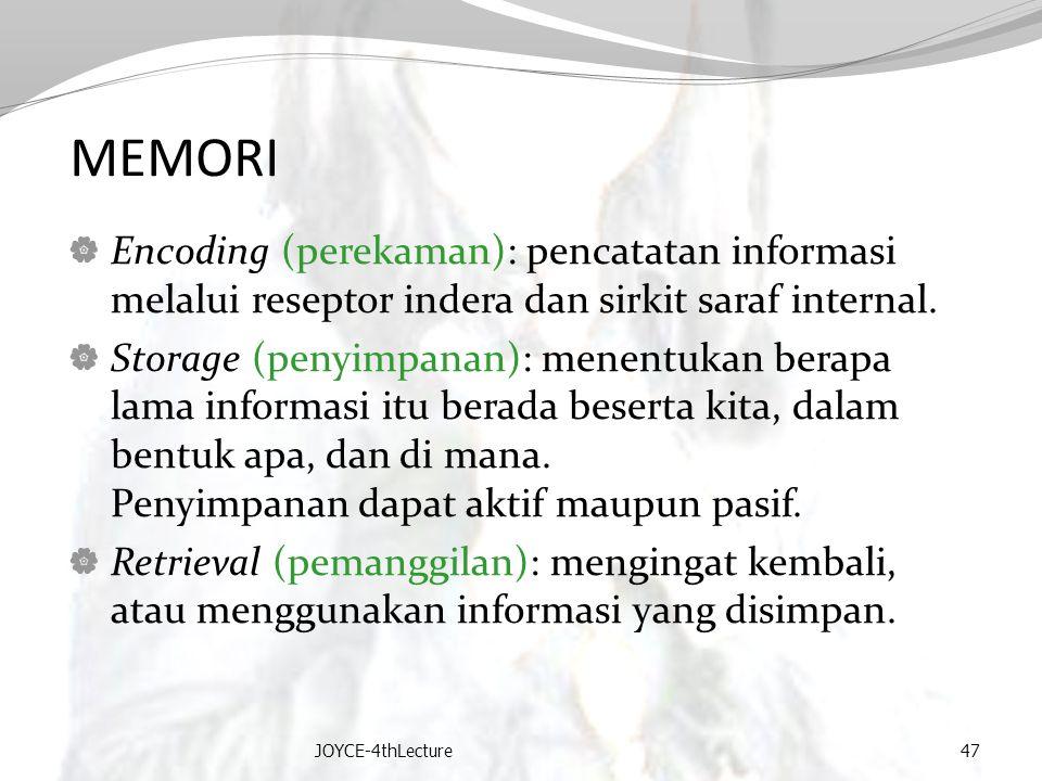 MEMORI Encoding (perekaman): pencatatan informasi melalui reseptor indera dan sirkit saraf internal.