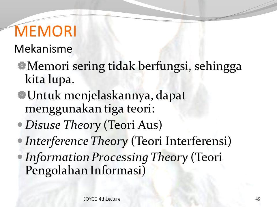 MEMORI Mekanisme Memori sering tidak berfungsi, sehingga kita lupa.