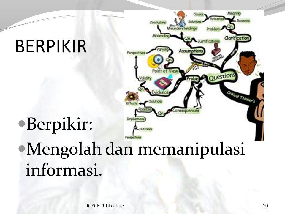 BERPIKIR Berpikir: Mengolah dan memanipulasi informasi.