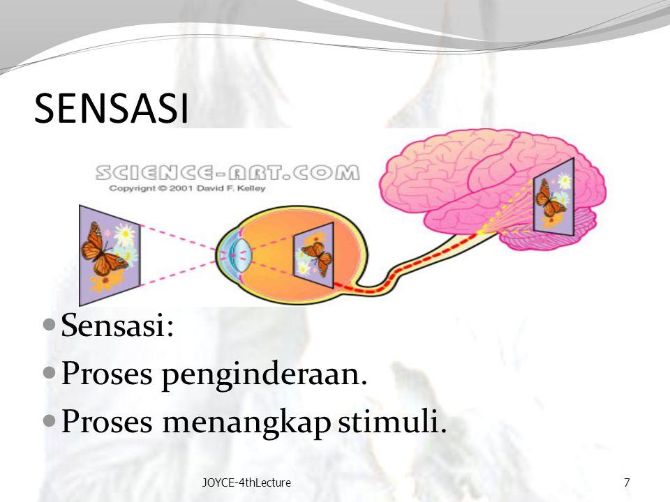 SENSASI Sensasi: Proses penginderaan. Proses menangkap stimuli.